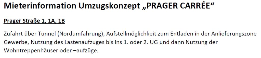 Umzugskonzept Prager Str. 1